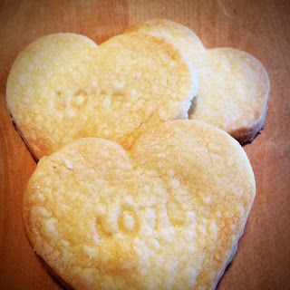 Shortbread hearts stamped with love