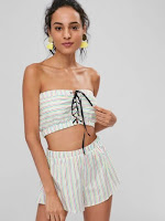 Stripes Lace Up Shorts Set