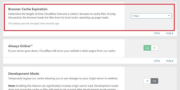 cara mengatur browser cache expiration di cloudflare