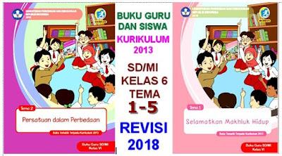 BUKU TEMATIK TERPADU GURU DAN SISWA  SD/MI KELAS 6 KURIKULUM 2013  REVISI 2018