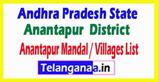 Anantapur Mandal Villages Codes Anantapur District Andhra Pradesh State India