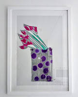 Abstract art expressionism of purple calla lilies in a vase