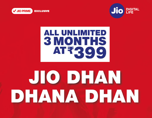 New Jio Dhan Dhana Dhan Offer - Tariff Plan Launched with Free 3 Months 4G Plans