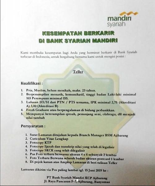 Rekrutmen Calon Pegawai PT BANK SYARIAH MANDIRI Mei 2019
