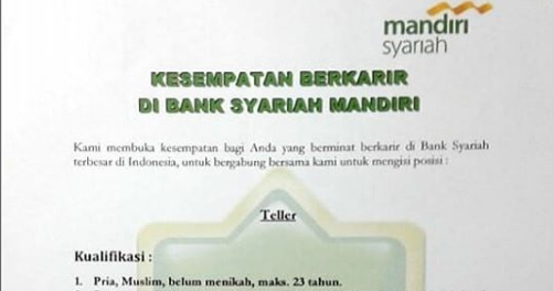 Rekrutmen Calon Pegawai PT BANK SYARIAH MANDIRI Mei 2019 ...