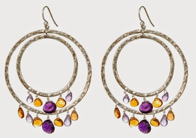 arge silver double hoop earrings with gemstones, silver chandelier multi-gemstone hoop earrings