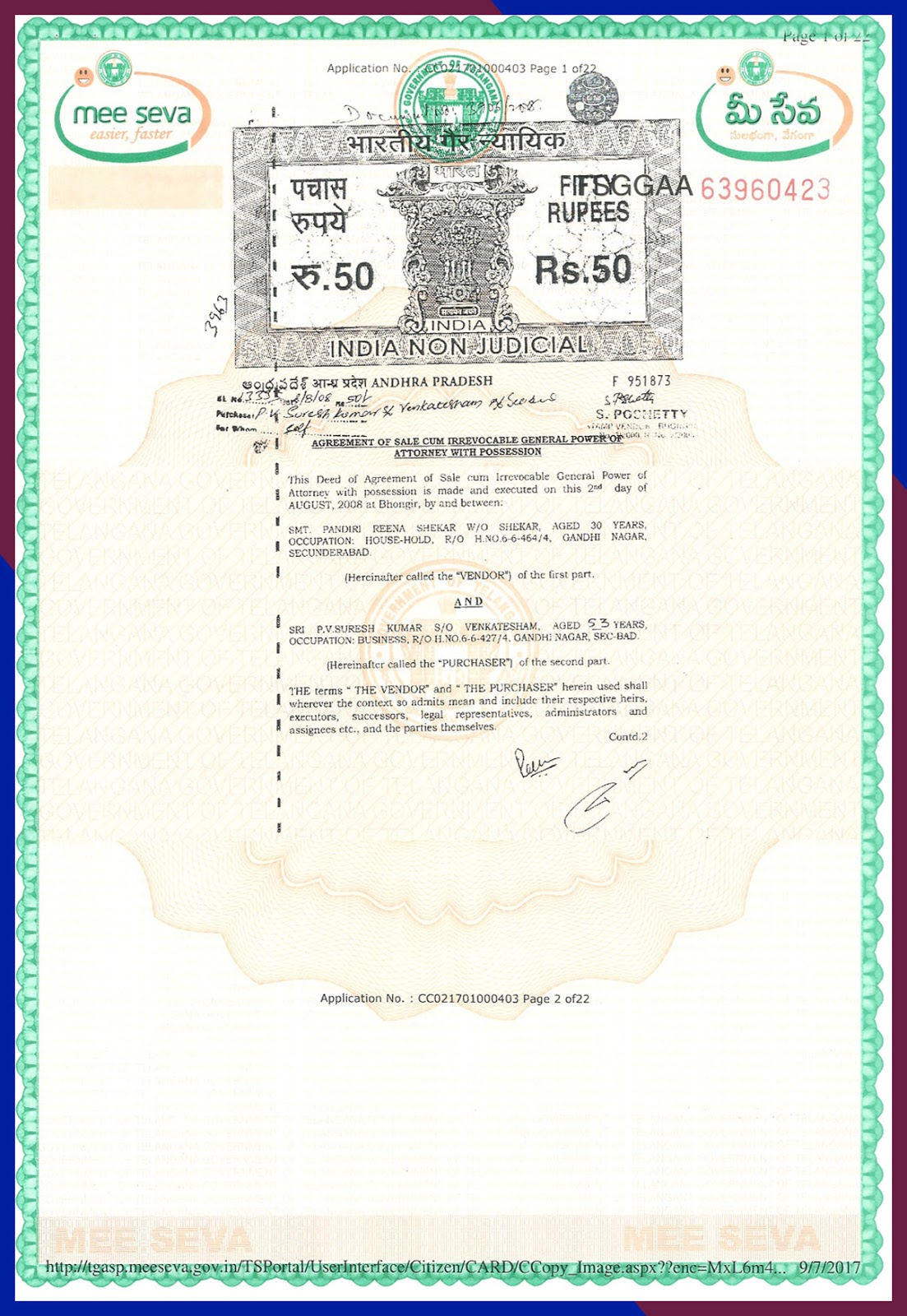 Agreement of Sale cum GPA date 2-8-2008