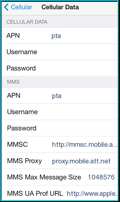 New AT&T internet settings iPhone