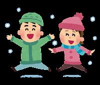 雪の中で遊びまわる子供達のイラスト