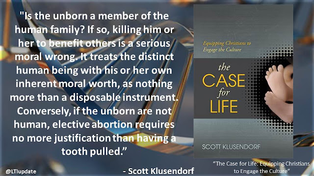 """Is the unborn a member of the human family? If so, killing him or her to benefit others is a serious moral wrong. It treats the distinct human being with his or her own inherent moral worth, as nothing more than a disposable instrument. Conversely, if the unborn are not human, elective abortion requires no more justification than having a tooth pulled.""- Scott Klusendorf- ""The Case for Life"""