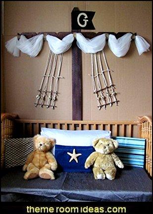 Pirate Ship design Barn wood bedroom decor custom burlap rope Boat Sail Mast Nautical