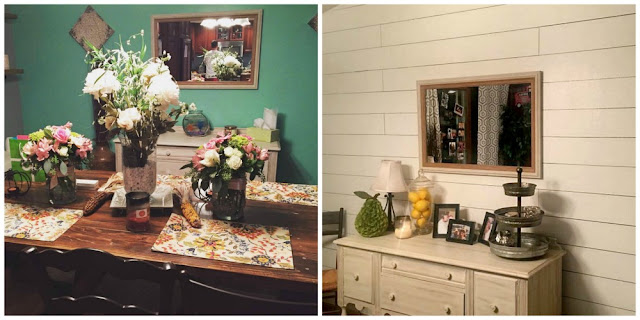 Before and after shiplap wall