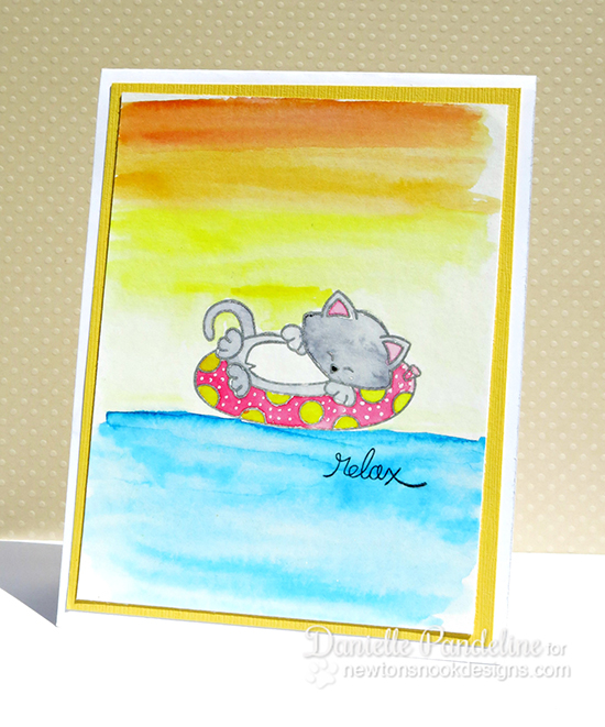 Watercolor Kitty  Beach Card by Danielle Pandeline for Newton's Nook Designs - Inky Paws Beach Challenge