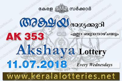 Kerala Lottery Results 11-07-2018 Akshaya AK-353 Lottery Result, Kerala Lottery, Kerala Lottery Results, Kerala Lottery Result Live, Akshaya, Akshaya Lottery Results,