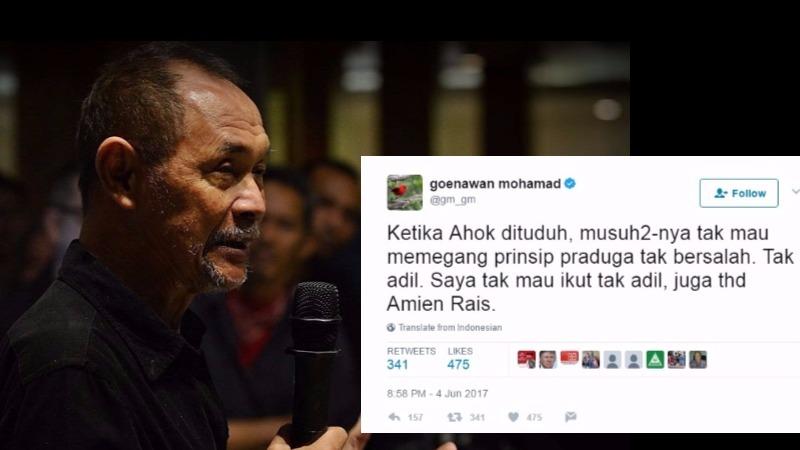 Kicauan Goenawan Mohamad soal azas praduga tak bersalah