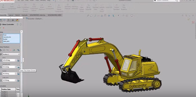 How to Assembly Backhoe Mate Controller | SOLIDWORKS