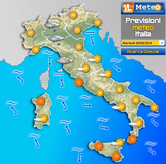 Meteo Italia Cartina.Widget Previsioni Del Meteo Per Blog Scuolissima Com