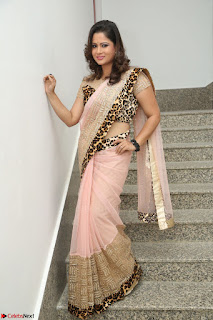 Shilpa Chakravarthy in Lovely Designer Pink Saree with Cat Print Pallu 019.JPG