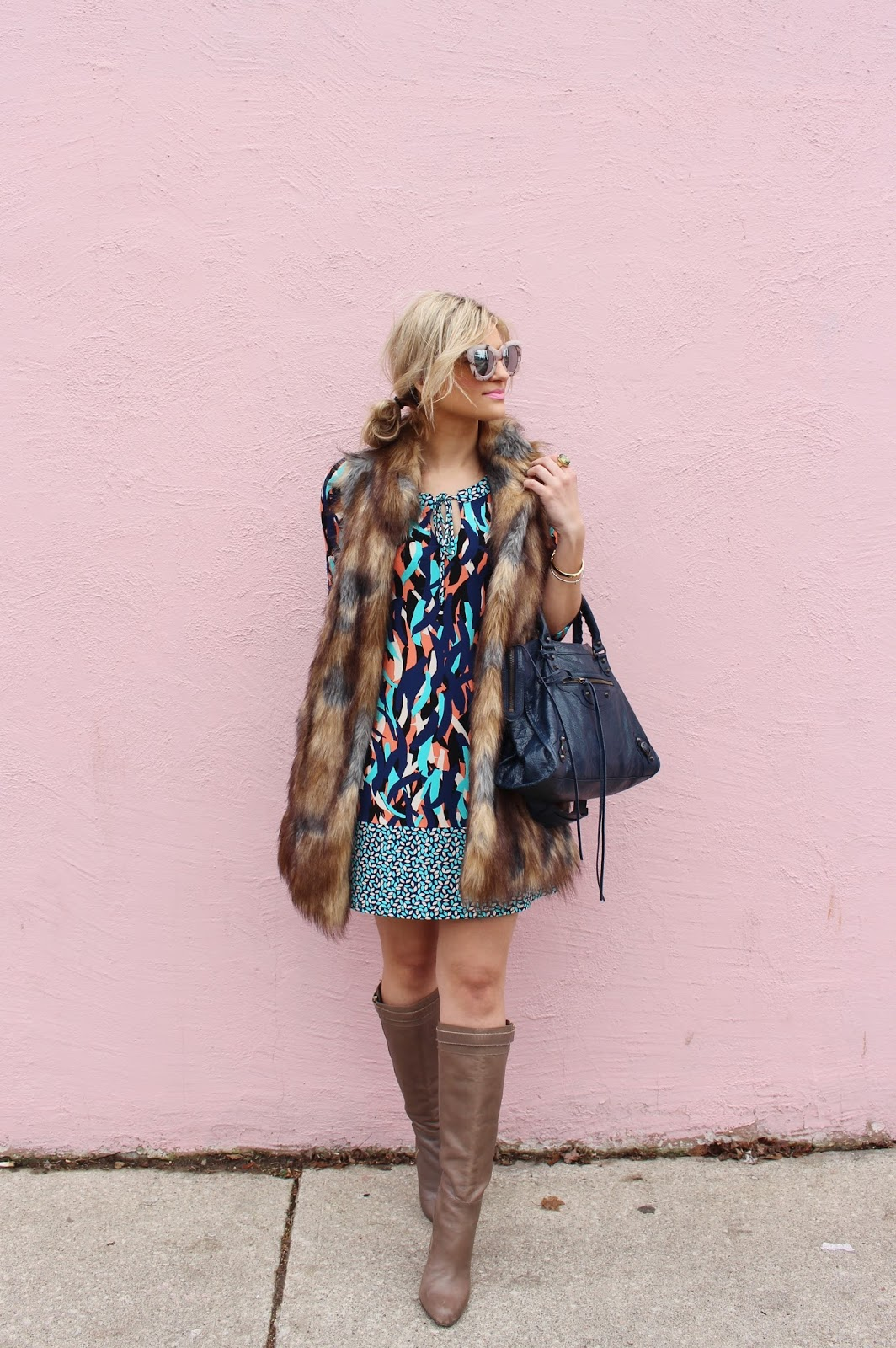 Bijuleni - How to Style a Summer Dress in Winter- Leota dress, Ann Taylor boots, fur vest and Balenciaga Bag