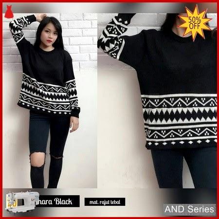 AND123 Sweater Wanita Sahara Hitam Rajut BMGShop