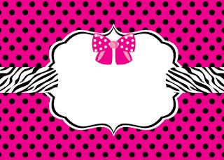 Invitaciones con Fondo Cebra y Lazos Rosa para Imprimir Gratis.