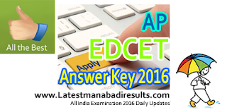 AP EdCET 2016 Answer Key,AP EDCET Key 2016,Manabadi EdCET Key 2016