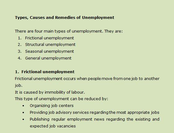 Unemployment remedies
