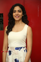 Actress Ritu Varma Stills in White Floral Short Dress at Kesava Movie Success Meet .COM 0055.JPG