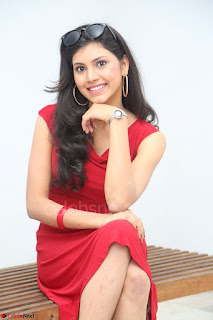 Mounika Telugu Actress in Red Sleeveless Dress Black Boots Spicy Pics 043.JPG