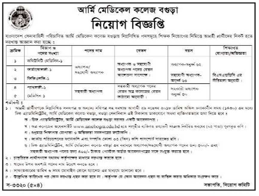 Army Medical College, Bogra Job Circular 2018