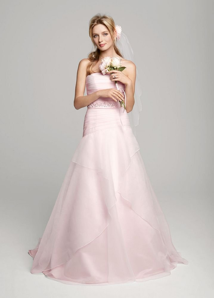 A line+Organza+Over+Satin+Gown+with+Beaded+Sash - Pink Wedding Gowns