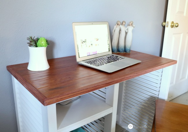 make a desk out of shutters and floor boards repurposed project