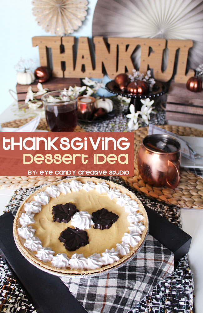 Thanksgiving dessert idea, cold stone, ice cream pie, plaid table decor
