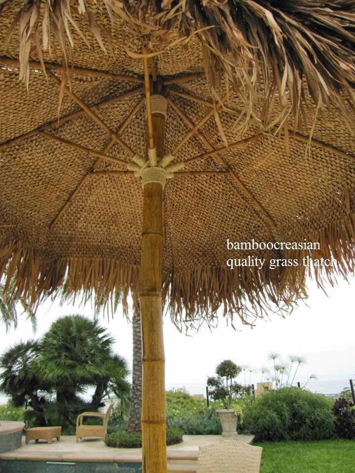 9 ft asian thatch umbrella solid bamboo frame palapa set 14 ft tropical patio yard garden decor