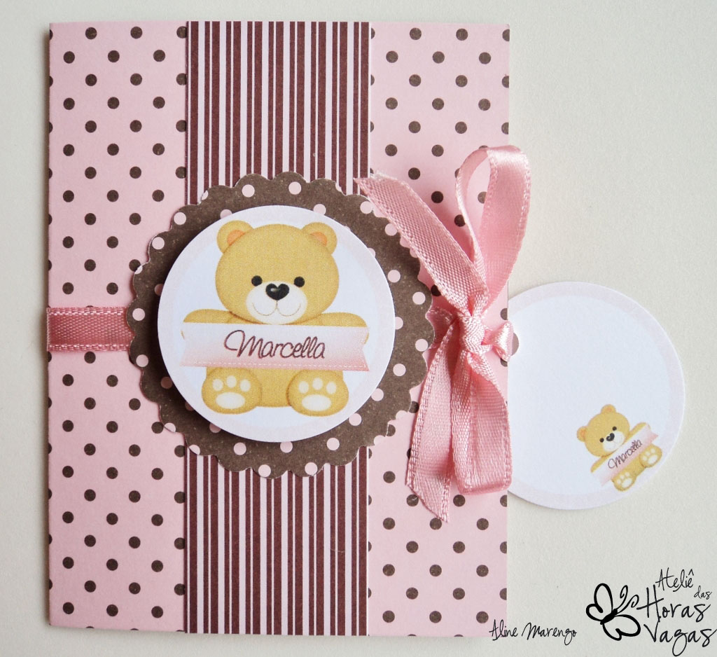 convite artesanal poá rosa marrom ursinha aniversário 1 aninho menina