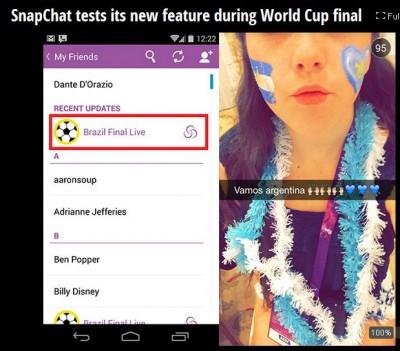 SnapChat Uji Fitur Our Story di Final Piala Dunia 2014