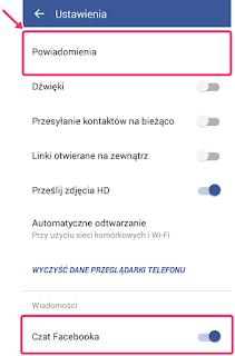 ustawienia powiadomień push i dźwięków w aplikacji facebook