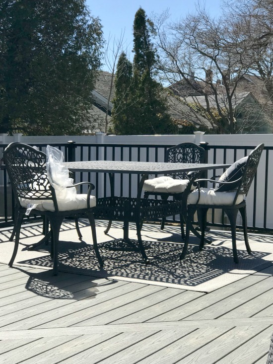 Trex outdoor decking and our patio set