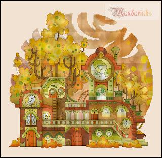 Cross-stitch «Сентябрь-октябрь» Надежда Григорьева (Mandarinks)
