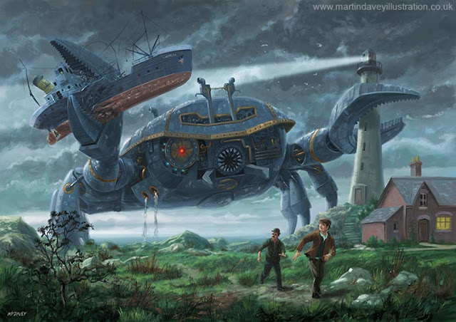 Martin Davey steam punk crab invasion digital painting