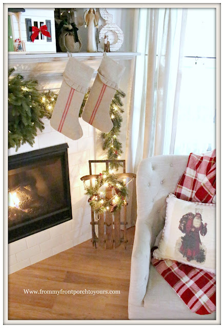 French Country Farmhouse Christmas Mantel-Vintage Sled- Wreath With Lights-From My Front Porch To Yours