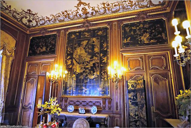 Paneles Chinos del Salón del Desayuno de la Mansión The Elms en Newport