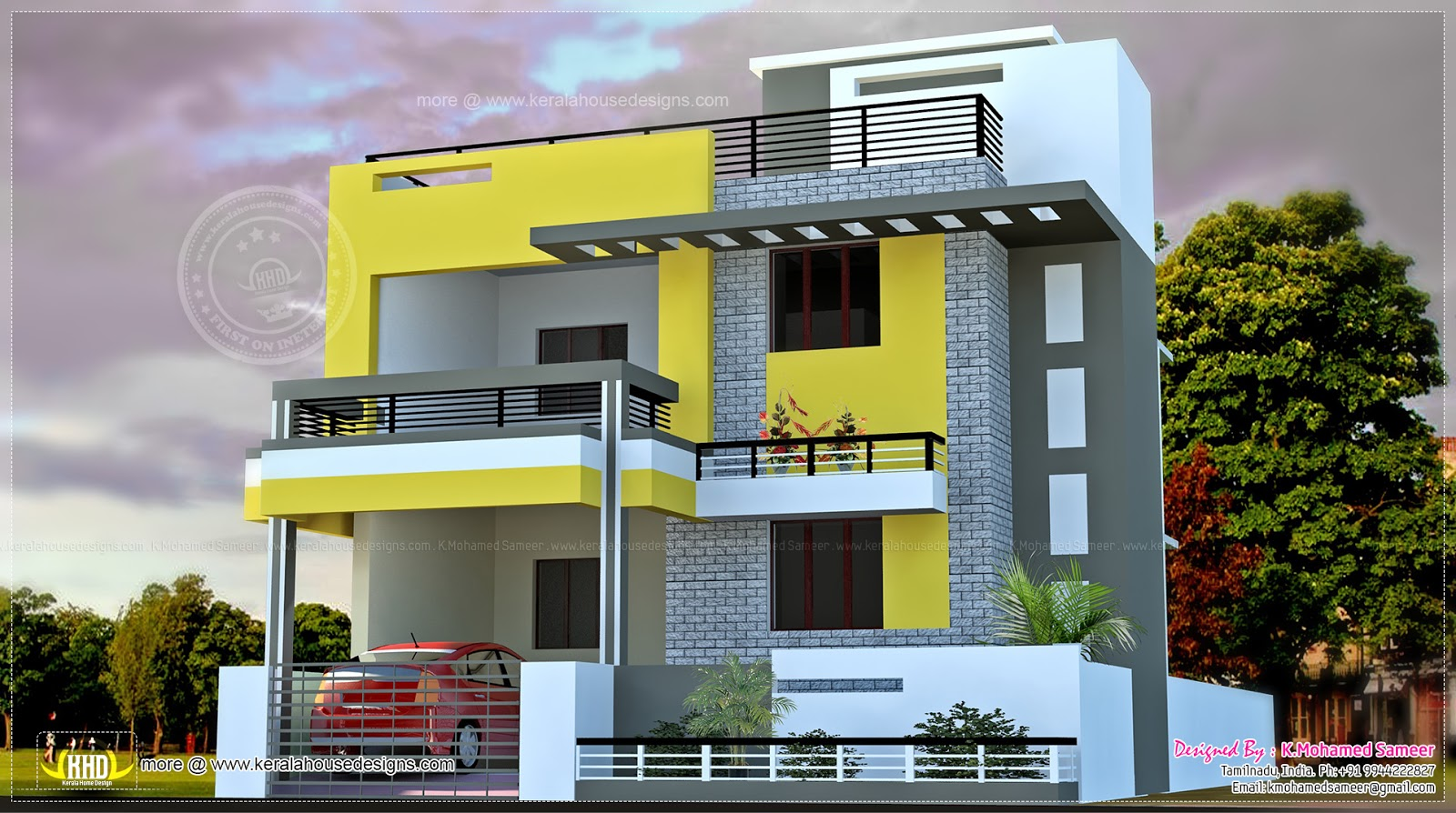 India house plan in modern style kerala home design and for Front view of duplex house in india
