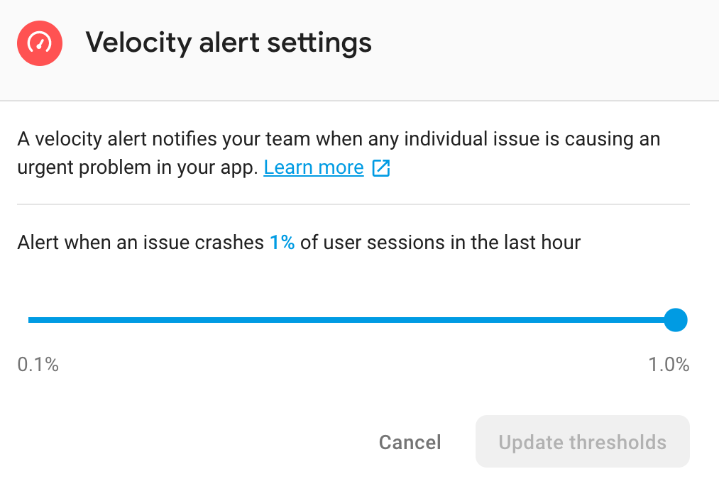 image of velocity alert settings