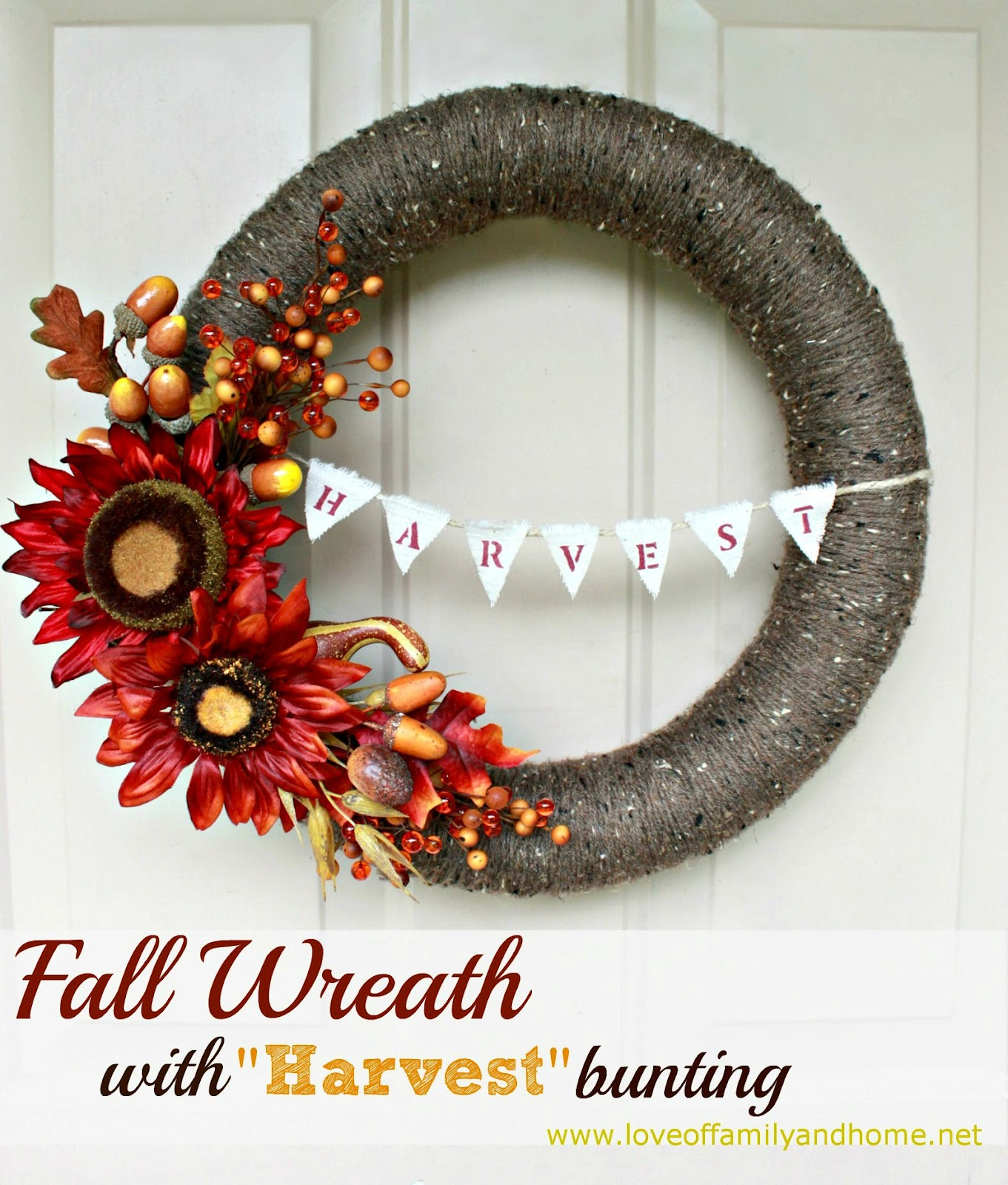 DIY Fall Yarn Wreath with Bunting