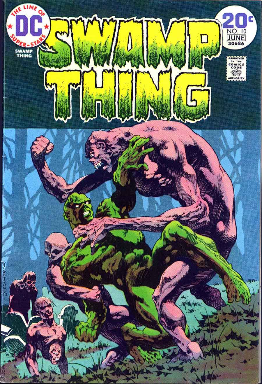 Swamp Thing #10 bronze age 1970s dc comic book cover art by Bernie Wrightson
