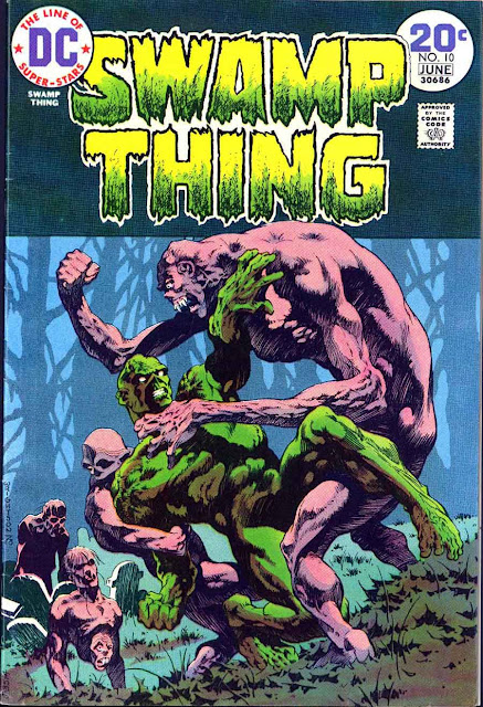 Swamp Thing v1 #10 1970s bronze age dc comic book cover art by Bernie Wrightson
