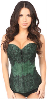 Lavish Dark Green Brocade w/Black Eyelash Lace Overbust Corset