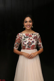 Ritu Varma smiling face Cream Anarkali dress at launch of OPPO New Selfie Camera F3 ~  Exclusive 038.JPG