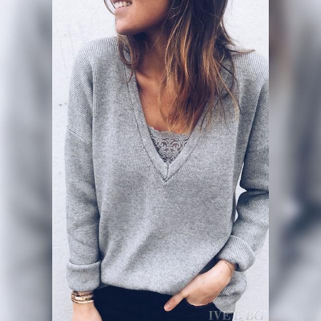 Μακρυμάνικη γυναικεία γκρι μπλούζα GRETA GREY